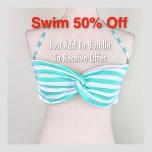 Mossimo Striped Halter Bikini Bandeau Top